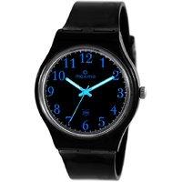 Maxima Round Dial Black Plastic Strap Mens Quartz Watch