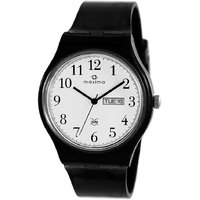 Maxima Round Dial Black Plastic Strap Mens Quartz Watch