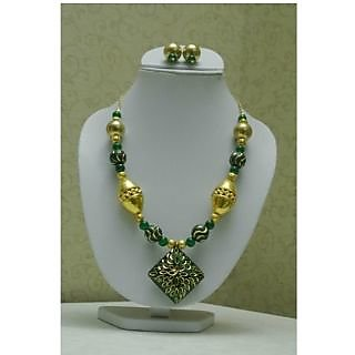 Green N Golden Color Beaded Jewellery