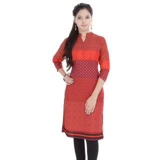 Beautiful Printed Red Cotton Kurti from the house of Anjani