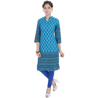 Beautiful Printed Blue Cotton Kurti from the house of Anjani
