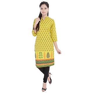 Beautiful Printed Yellow Cotton Kurti from the house of Anjani