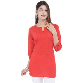 Mystique India Red 3/4 Sleeve Round Neck Cotton Short Kurti For women