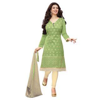 RapidDuka Un-Stitched Off Green Color Straight Salwar Suit Dupatta MaterialSF353
