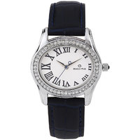 Maxima Collection WomenS Leather Analogue Watch (Dark Blue/White) 29554LMLI