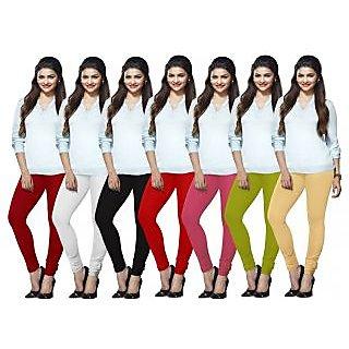 Lux Lyra Multicolored Pack of 7 Cotton Leggings LYRAIC02091112141518FS7PC