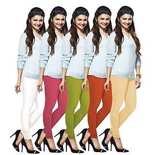 Lux Lyra Multicolored Pack of 5 Cotton Leggings LyraIC10141517185PC