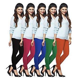 Lux Lyra Multicolored Pack of 5 Cotton Leggings LyraIC11334951575PC