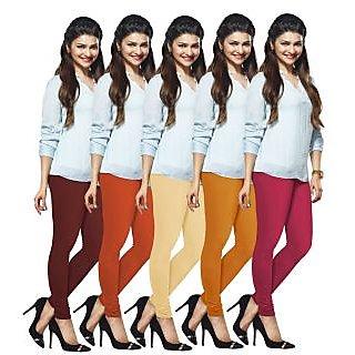 Lux Lyra Multicolored Pack of 5 Cotton Leggings LyraIC13171821335PC