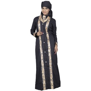 Hawai Golden Leon Fabric Embellished Burqa for Women