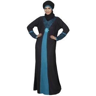 Hawai Lycra Turquoise Mesh Stone Embellished Burqa