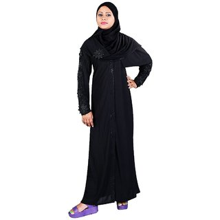 Hawai Flowery Patches Lycra Black Burqa