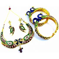 Peacock Kada & Jewellery Set Combo 2