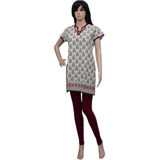 Pezzava: Beautifully Block Print Kurti Sequins Hand Work Ladies Kurta TOP-A0072