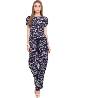 Porsorte Women Blue Printed Jumpsuits