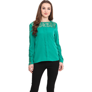 Blue Sequin Women Green Top