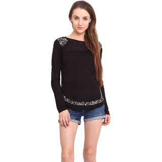 Ama Bella Women Black T-Shirt