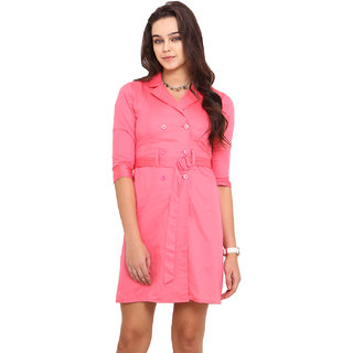 Pink Lemon Pink Plain A Line Dress For Women
