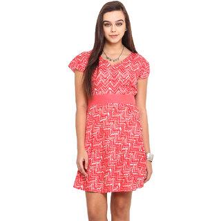 Pink Lemon Women Pink V-Neck Casual Dress