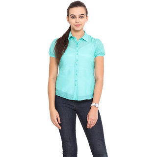Pink Lemon Women Light Green Shirt