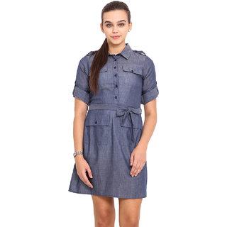 Pink Lemon Women Navy Blue Boat Neck Casual Dress