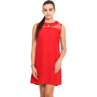 Pink Lemon Women Red Boat Neck Casual Dress
