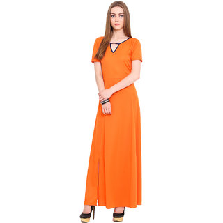 Blink Orange Plain Gown Dress For Women