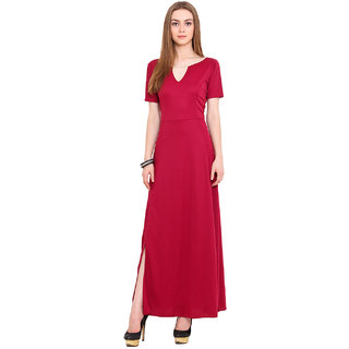 Blink Red Plain Gown Dress For Women