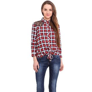 Ama Bella Women Red Rayon  Shirt