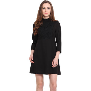 Blue Sequin Women Black Chinese Collar Casual Dress