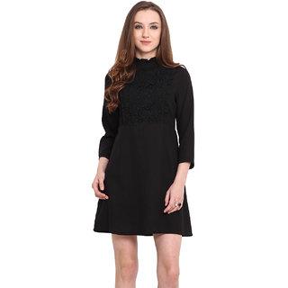 Blue Sequin Blue Plain A Line Dress For Women