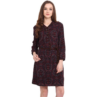 Blue Sequin Women Maroon V-Neck Casual Dress