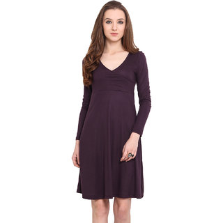 Blue Sequin Women Wine V-Neck Casual Dress
