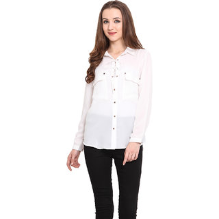 Blue Sequin Women Beige Shirt