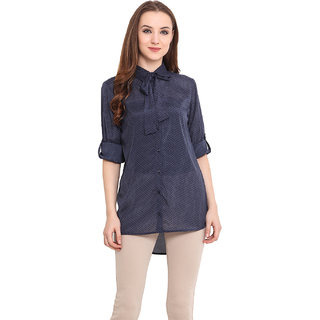 Blue Sequin Women Blue Shirt
