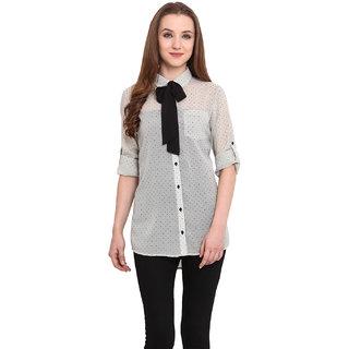Blue Sequin Women White Shirt