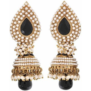 Maayra Aashiqui 2 Black White Pearl Sangeet Jhumki Earrings