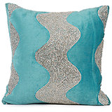 LEHAR - Wave Design Aqua Blue Velvet Cushion Cover - Set Of 2