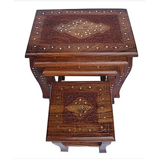 Onlineshoppee Carved Set Of 4 Tables