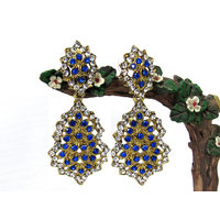 Dark Blue white stone earring