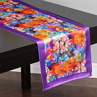 Lushomes Digital Printed Purple Themed Polyester Table Runner