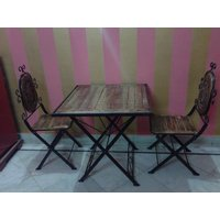 Onlineshoppee Wooden & Iron Dining Table Set