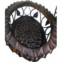 Onlineshoppee Wooden & Iron Fruit Basket Oval Shape