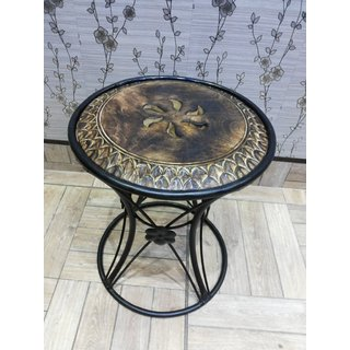 Onlineshoppee Wooden & Wrought Iron Chair (Option 3)