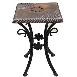 Onlineshoppee Wooden & Wrought Iron Chair (Option 7)