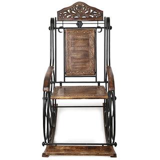 Onlineshoppee Wooden & Iron Rocking Chair