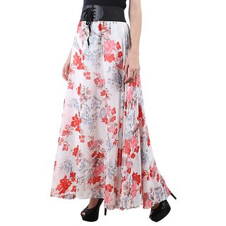 Raabta White with Red floral Long Skirt with flair