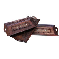 Onlineshoppee Wooden Serving Tray Set Hand Carved (Option 1)