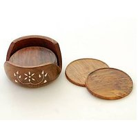 Onlineshoppee Wooden Coaster Set (Option 1)