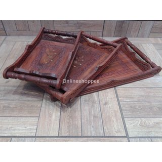 Onlineshoppee Wooden Serving Tray Set Hand Carved (Option 2)